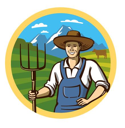 villager: vector color farmer icon on white background Illustration