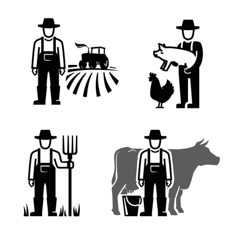vector black farmer icon on white background 일러스트