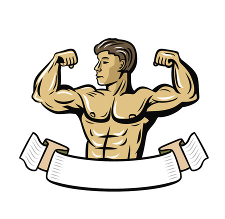 in flexed: vector color bodybuilder showing muscles on white background