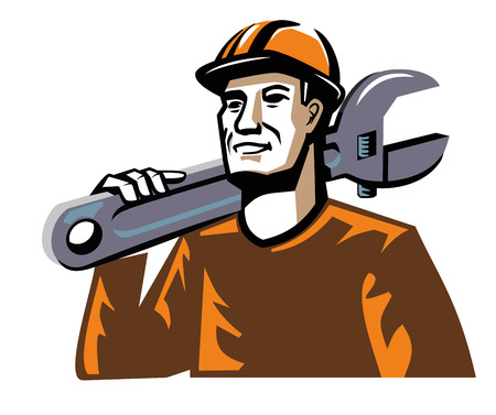 builder: vector color worker man figure on white background Illustration