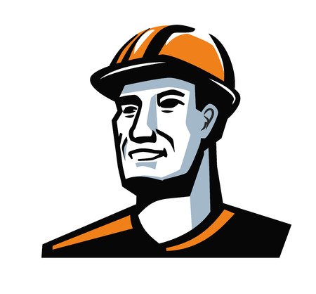 erector: vector color worker man on white background