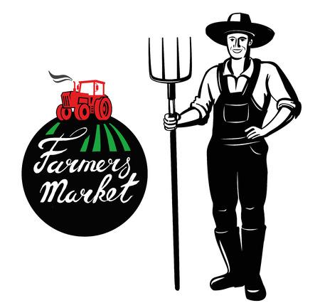 villager: vector black farmer icon on white background Illustration