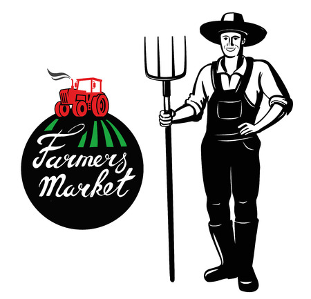 vector black farmer icon on white background