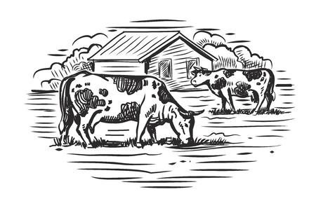 vector zwarte koe en boerderij op een witte achtergrond