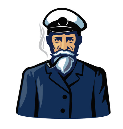 captain hat: vector color captain icon on white background Illustration