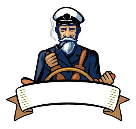 vector color captain icon on white background Vettoriali