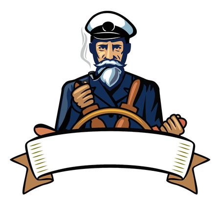 cruise travel: vector color captain icon on white background Illustration