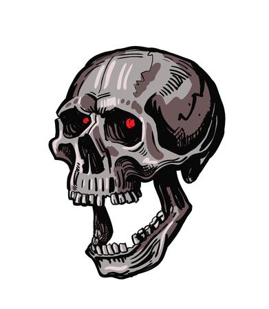 sapiens: vector black skull icon on white background