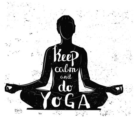 Vektor schwarze Mädchen, das Yoga-Symbol auf weißem Hintergrund Illustration