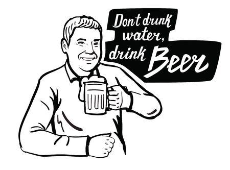 vasos de cerveza: hombre negro del vector con el icono de la cerveza en el fondo blanco