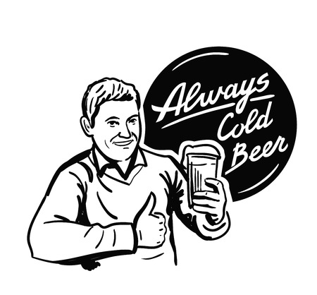 male friends: vector black man with beer icon on white background Illustration