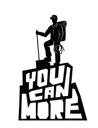 mountain climber: vector black climber on a mountain  white background Illustration