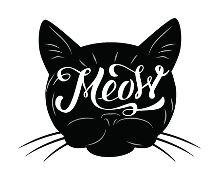 meow: vector black cat icon on white background Illustration