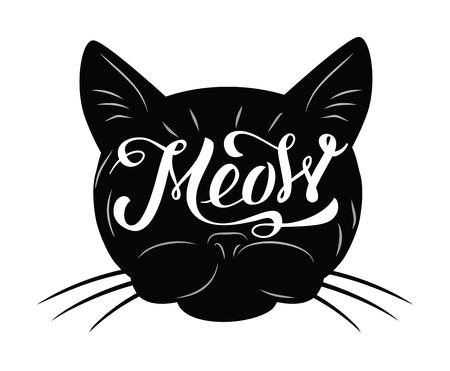 white cat: vector black cat icon on white background Illustration