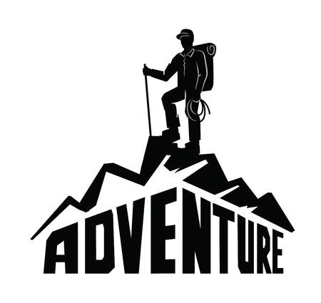 Vektor schwarze Bergsteiger auf einem Berg weißen Hintergrund