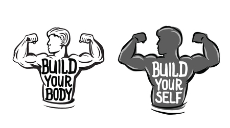 in flexed: vector black muscle man icon on white background