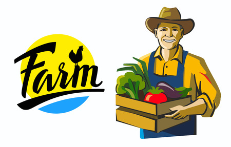 agrarian: vector color farmer icon on white background Illustration