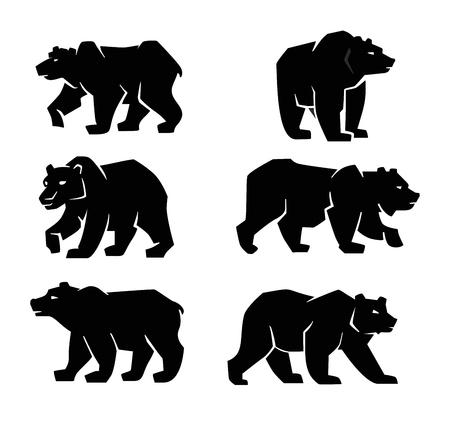 vettore simbolo orso nero su sfondo bianco