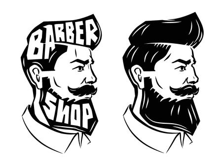 vector black men with beard icon on white background Vettoriali