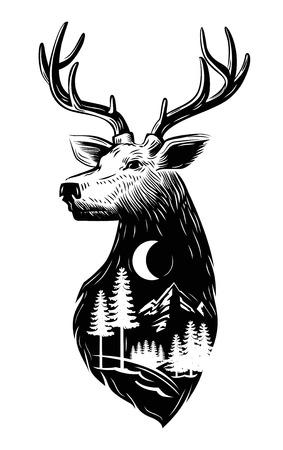 벡터 흰색 배경에 검은 사슴 머리 아이콘 일러스트