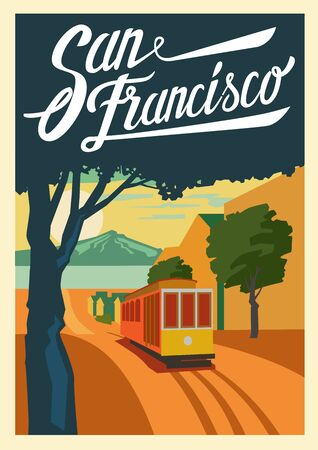 vector color poster San Francisco California