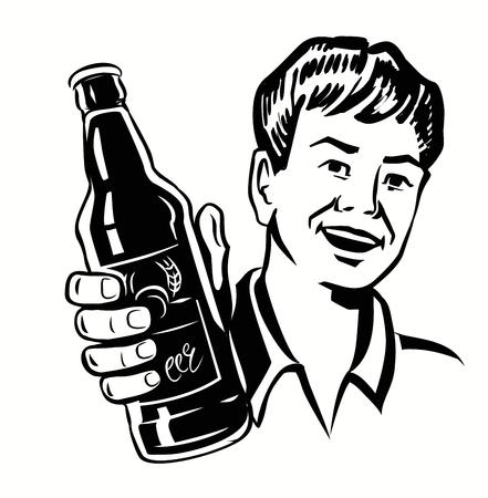 hombre tomando cerveza: vector símbolo negro de retro individuo de la cerveza