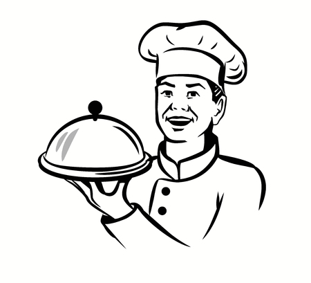 hot plate: vector black chef with hat and hot plate on white background