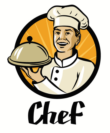 hot plate: vector chef with hat and hot plate on white background