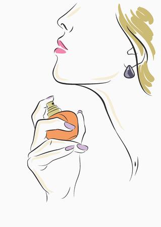 olfato: Retrato del vector de la muchacha hermosa en el fondo blanco Vectores