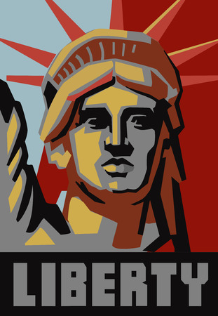 freedom woman: vector landmark and symbol of Freedom and Democracy