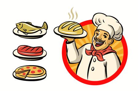 cocinero del vector con el sombrero y la comida en el fondo blanco Ilustración de vector