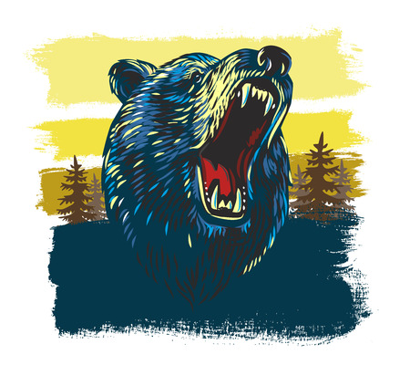vector Angry Bear Head in forest background  イラスト・ベクター素材