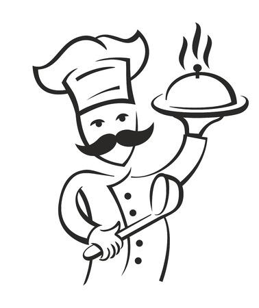 Vector zwarte chef-pictogram op een witte achtergrond Stockfoto - 55171862