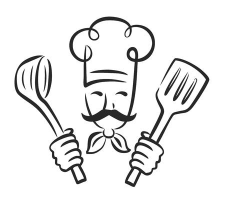 vecteur cuisinier icône noire sur fond blanc Vecteurs