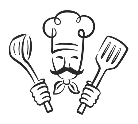 vector zwarte chef-pictogram op een witte achtergrond Vector Illustratie