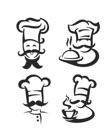 벡터 흰색 배경에 검은 요리사 아이콘 스톡 콘텐츠 - 55171865