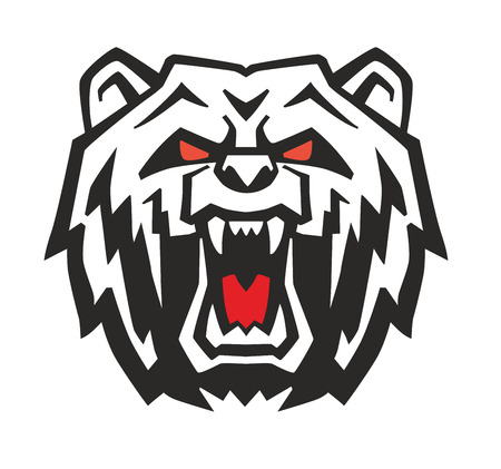 tattoo face: vector Angry Bear Head on white background