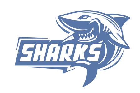 logo poisson: vecteur requin bleu icône sur fond blanc