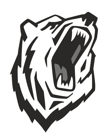 predators: vector Angry Bear Head on white background