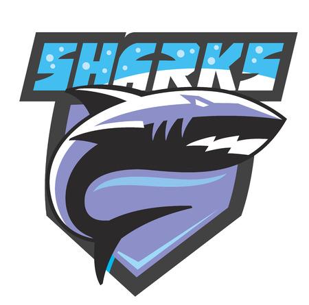 team sports: icono del vector del tiburón del color en el fondo blanco Vectores