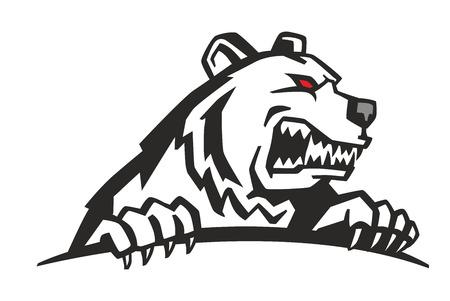 Vektor Wütend Bären-Kopf auf weißem Hintergrund Standard-Bild - 55172311