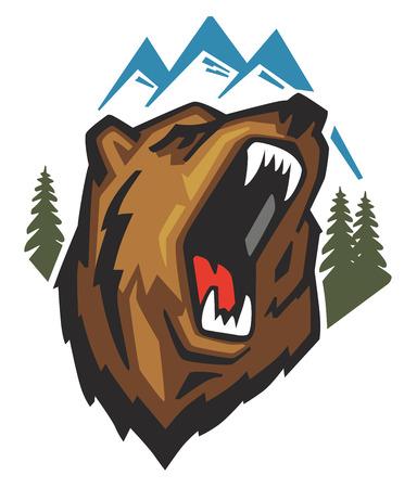oso blanco: Cabeza del oso enojado del vector en el fondo blanco