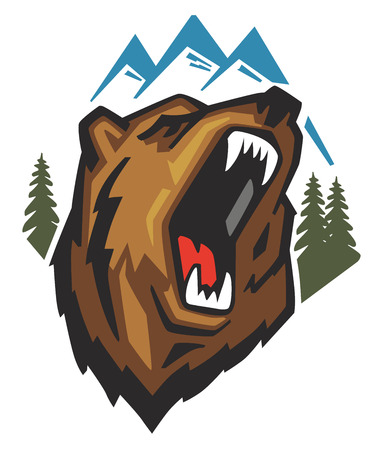 grizzly: vector Angry Bear Head on white background