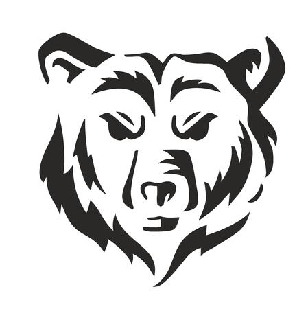 vector black bear icon on white background 일러스트