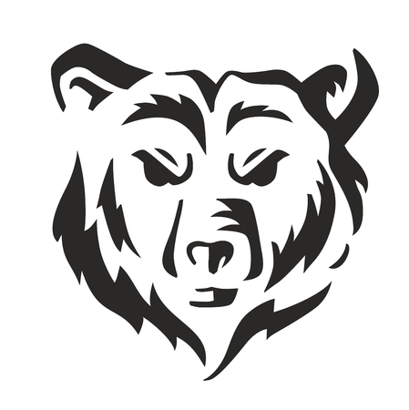 large mouth: vector black bear icon on white background Illustration
