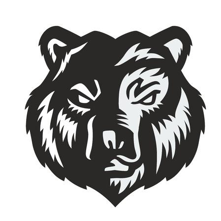 grizzly: vecteur ours noir icône sur fond blanc Illustration