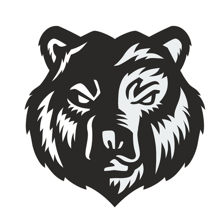 vector black bear icon on white background