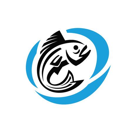 logo poisson: Vector fish noir rond sur fond blanc