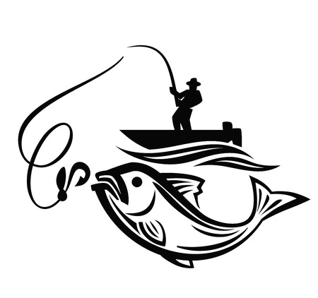 vector black fisherman icon on white background Çizim
