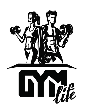 bodybuilding: vector black man and woman on white background